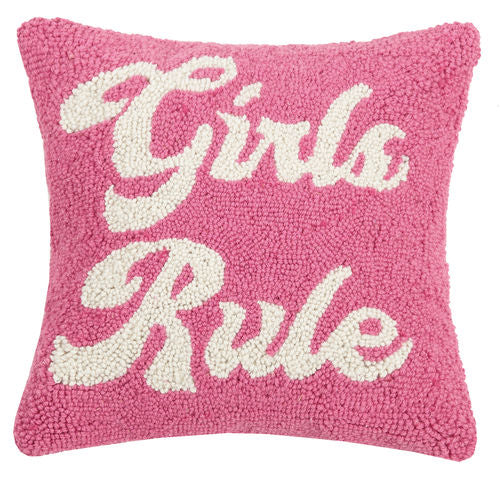 Girls Rule Pink Hook Pillow