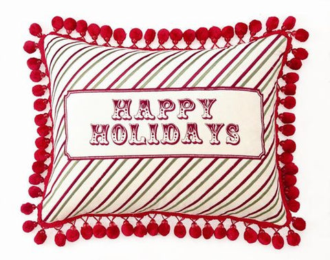 Happy Holidays Velvet & Tassels Pillow