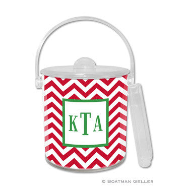 Personalized Ice Bucket - Red Chevron
