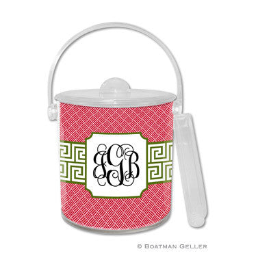 Personalized Ice Bucket - Greek Key Band Olive