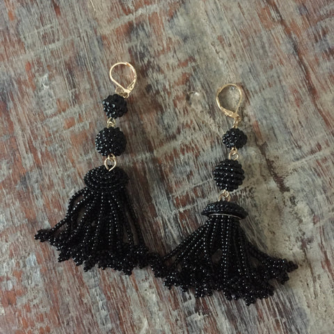 Finley Beaded Tassel Earrings - Black