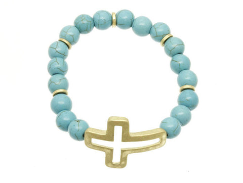 Natural Stone Bracelet With Cross