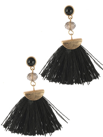 Zoe Fringe Tassel Earrings - Black