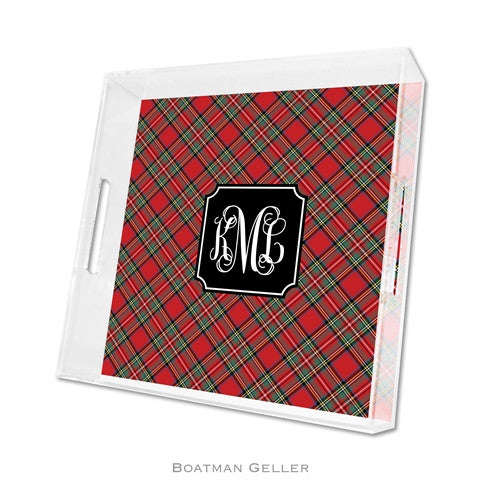 Copy of Lucite Tray - Plaid Red