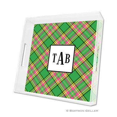 Lucite Tray - Preppy Plaid, 3 Sizes