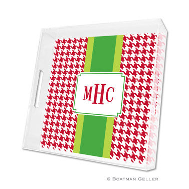 Lucite Tray - Alex Houndstooth Red