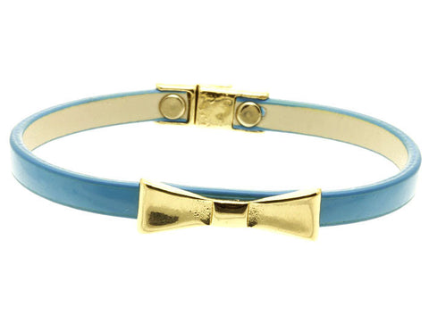 Aqua Leather Bow Bracelet