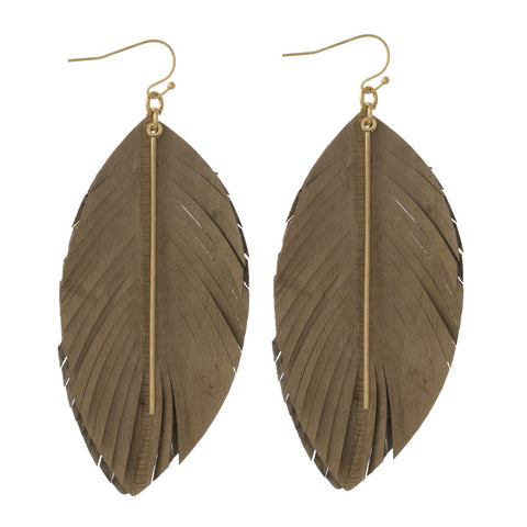 Leather Feather Earrings - Brown/Gold