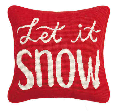 Let It Snow Needlepoint Pillow