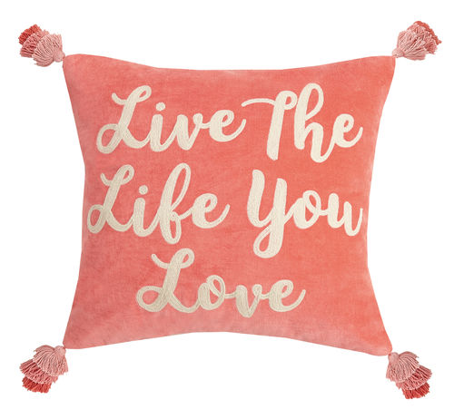 Live the Life You Love Velvet Embroidered Pillow