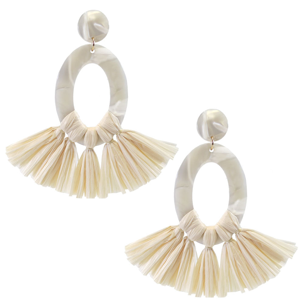 Posie Lucite Raffia Tassel Earrings - White