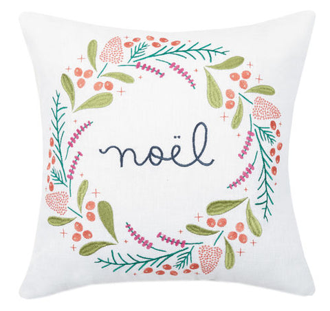 Noel Embroidered Pillow