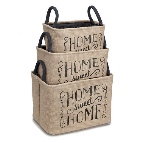Home Sweet Home Burlap Store Tins