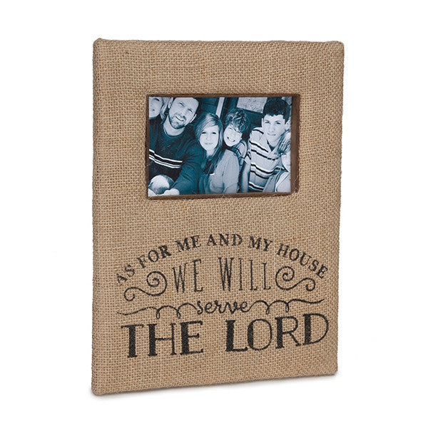 As For Me & My House, We Will Serve The Lord Burlap Picture Frame