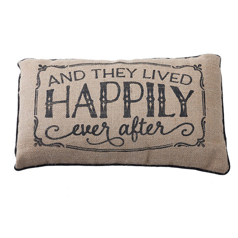 Happily Ever After Burlap Pillow