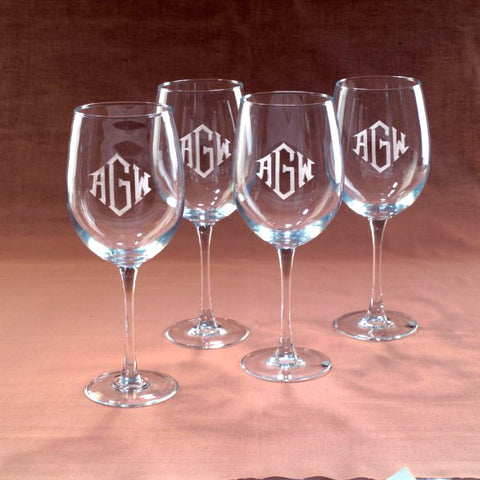Personalized Wine Gasses, Set of 4