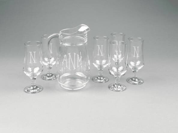 Ocean Isle Personalized Pitcher & Glass Set, 7 pcs