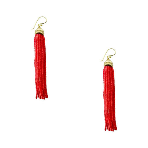 Sienna Beaded Tassel Earrings - Red