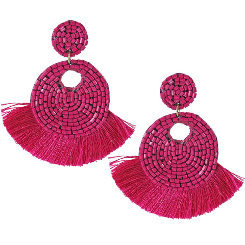 Roxie Beaded Fringe Tassel Earrings - Pink