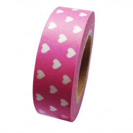 White Mini Hearts On Pink Washi Tape