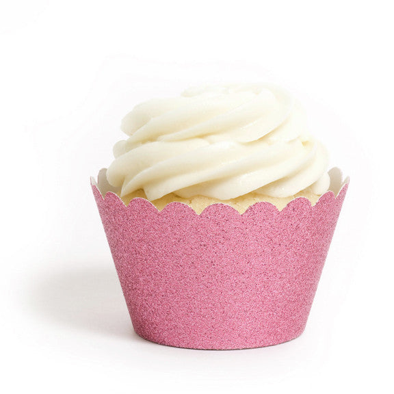 Reusable Cupcake Wrappers - Baby Pink Glitter