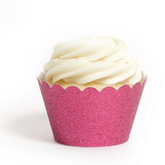 Reusable Cupcake Wrappers - Magenta Glitter