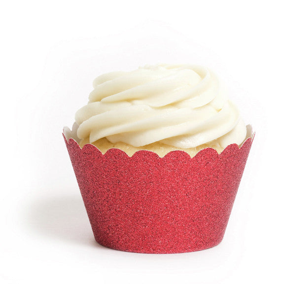Reusable Cupcake Wrappers - Red Glitter