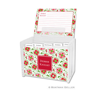 Acrylic Recipe Box with Recipe Cards & Tabs - Suzani Holiday