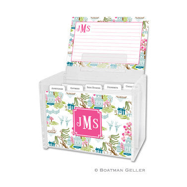 Acrylic Recipe Box w Tabs & Cards - Chinoiserie Spring