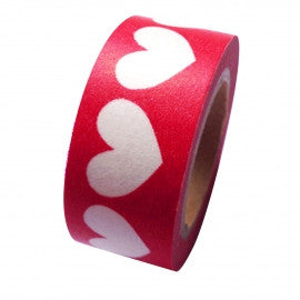 Large White Hearts On Red Washi Tape