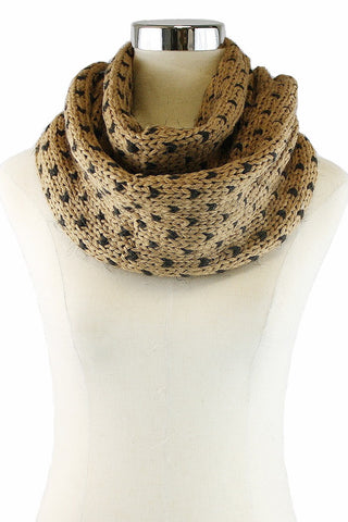 Specks Infinity Scarf - Tan w/ black