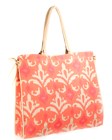 Orange & Hot Pink Jute Tote