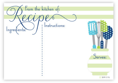 Polka Green Utensils Recipe Cards