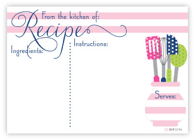 Polka Pink Utensils Recipe Cards