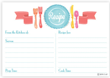 Turquoise Place Setting Recipe Cards