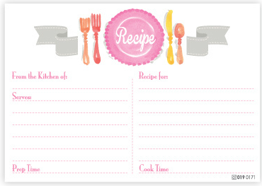 Pink Place Setting Recipe Cards