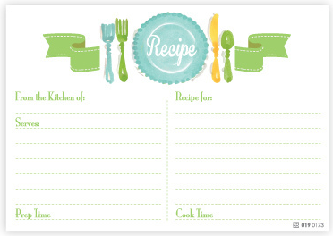 Teal Place Setting Recipe Cards