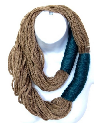 Rope Round Infinity Scarf - Teal