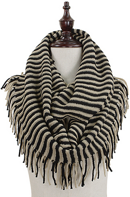 Fringy Stripes Scarf - Black/Beige