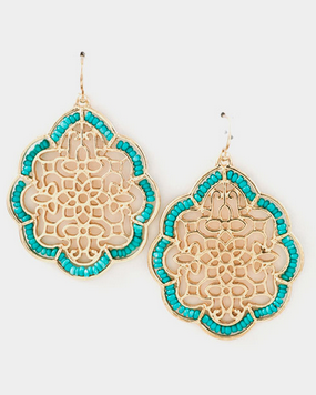 Beaded Filigree Earrings - Turquoise