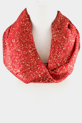 Gold Foil Accent Infinity Scarf - Red