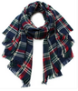 Plaid Blanket Scarf - Multi/Navy