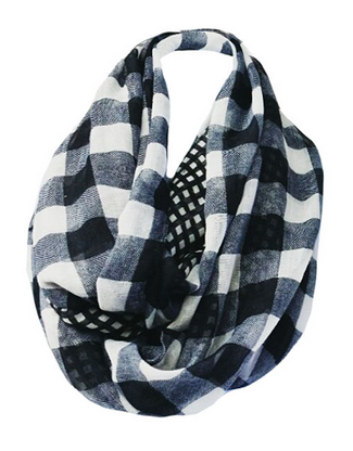 Big & Little Gingham-Buffalo-Check Infinity Scarf - White/Black