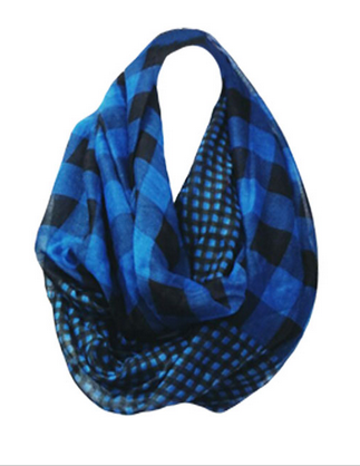 Big & Little Gingham-Buffalo-Check Infinity Scarf - Blue/Black