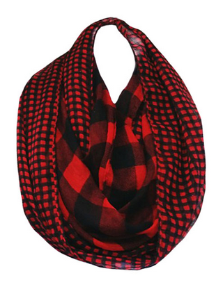 Big & Little Gingham-Buffalo-Check Infinity Scarf - Red/Black