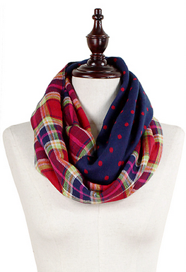 Whimsy Polka Plaid Infinity Scarf