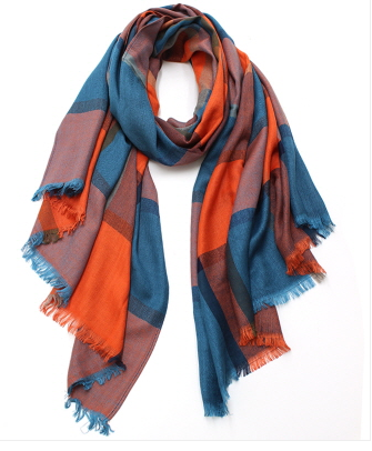 Large Orange & Teal Scarf