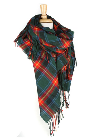 Oversized Plaid Fringe Scarf - Green & Red