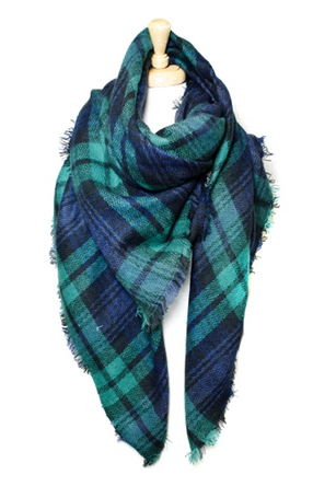 Plaid Blanket Scarf - Green & Navy