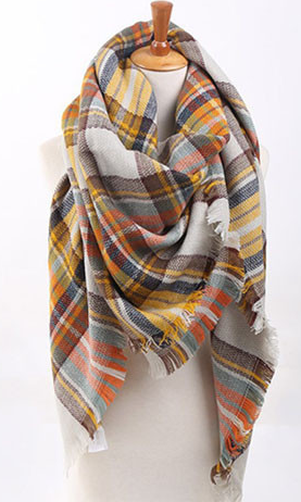Plaid Blanket Scarf - Mellow Yellow